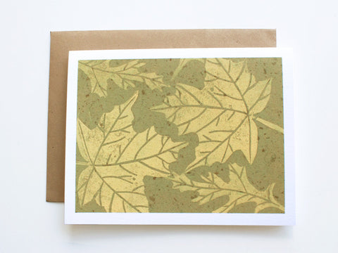 Maple Leaf Note Card Set - Linocut - Handmade Cards - The Imagination Spot - 4