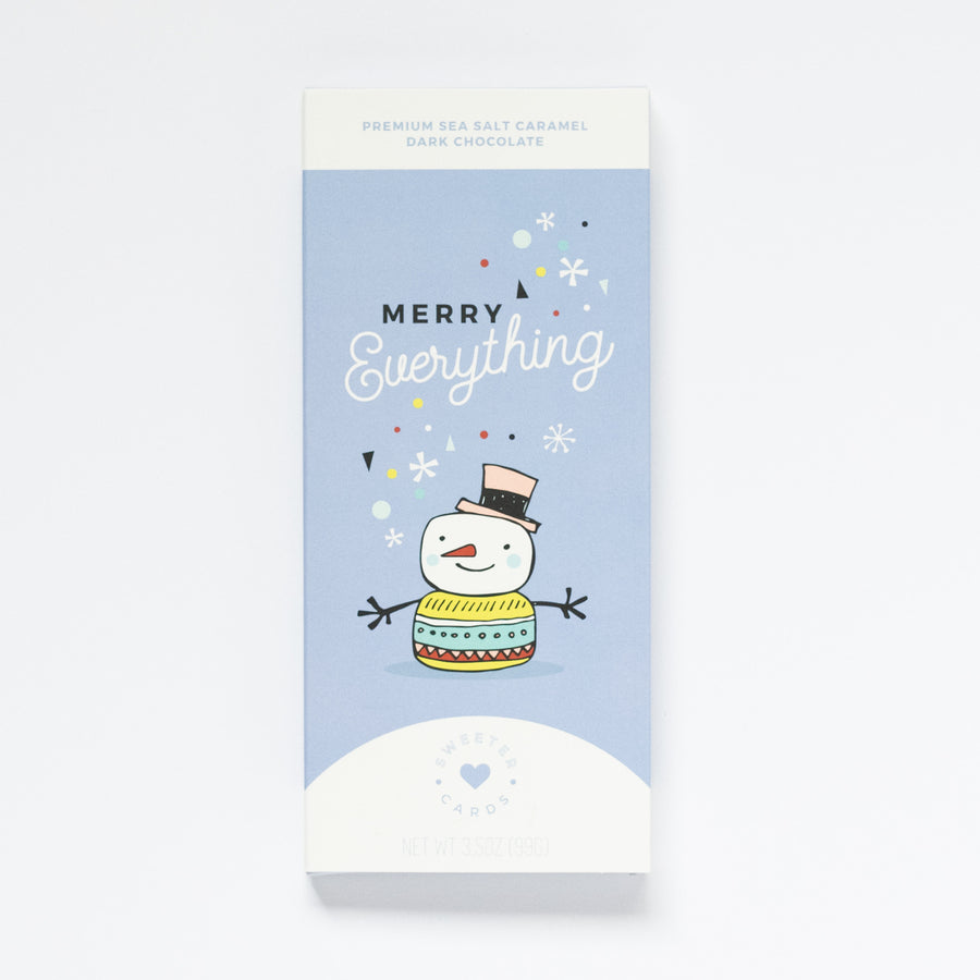 50% OFF - Chocolate Holiday Cards - With A Sea Salt Caramel Dark Chocolate Bar