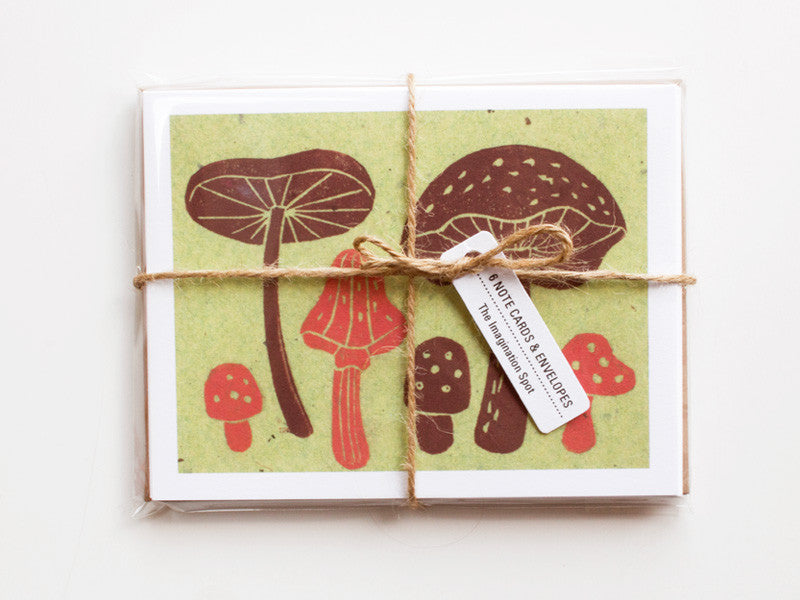 Mushrooms Note Card Set - Linocut - Handmade Cards - The Imagination Spot - 1