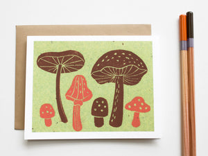 Mushrooms Note Card Set - Linocut - Handmade Cards - The Imagination Spot - 2