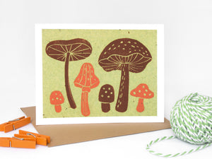 Mushrooms Note Card Set - Linocut - Handmade Cards - The Imagination Spot - 3