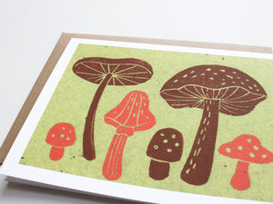 Mushrooms Note Card Set - Linocut - Handmade Cards - The Imagination Spot - 4