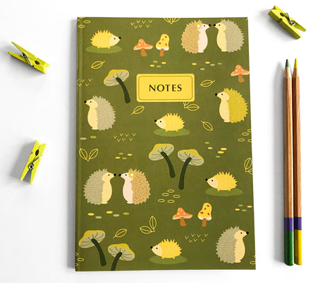 Hedgehog Notebook Journal - Woodland Animals