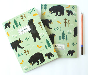 Recycled notebook - Bears in the forest