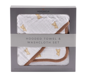 Cotton Hooded Towel & Washcloth Set
