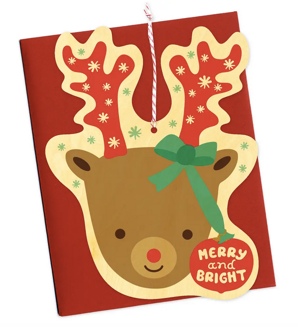 30 % OFF - Reindeer Ornament Wood Card - Christmas Ornament Card
