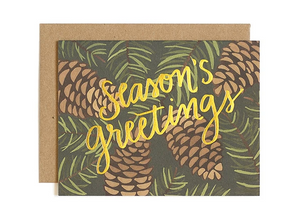 30% OFF - Season's Greetings - Pinecone Christmas Card