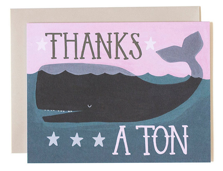Thanks A Ton Whale - Thank You Card