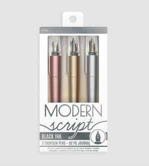 Modern Script Fountain Pen Journal Set