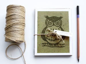 Owl Note Card Set - Linocut - Handmade Cards - The Imagination Spot - 1