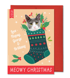 Personalized Pet Christmas Card - Custom Cat Holiday card
