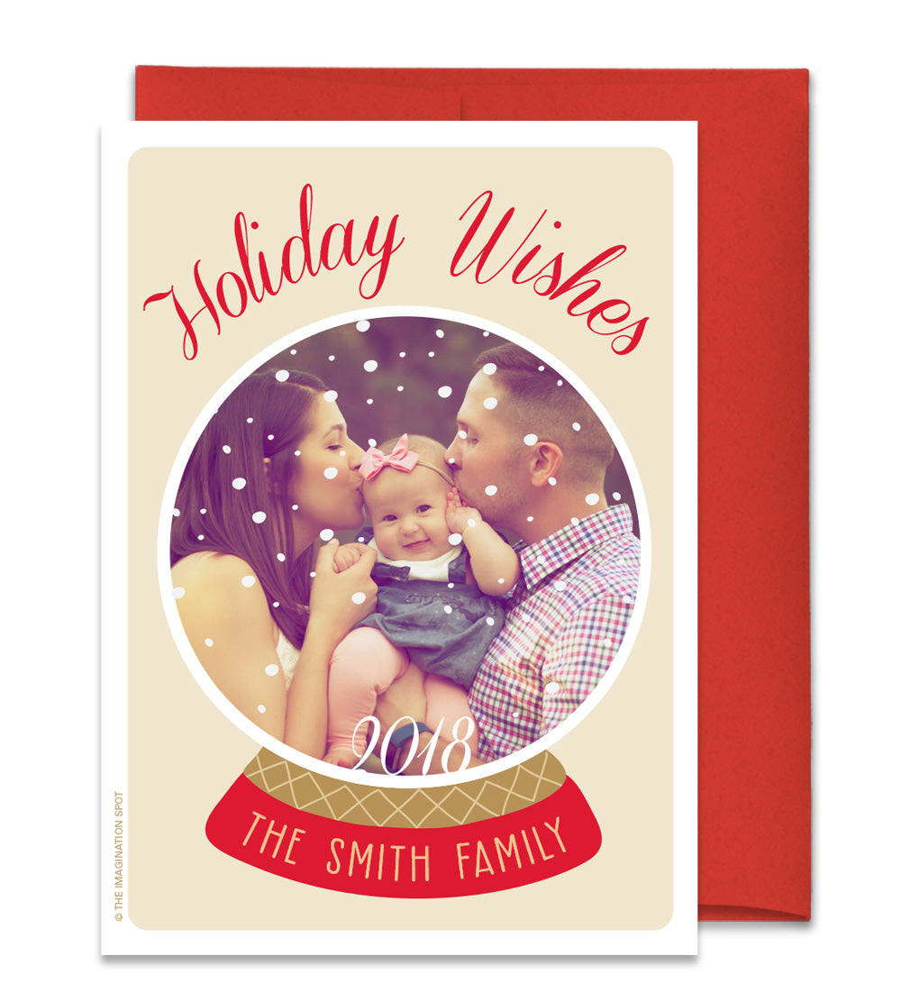 Personalized Christmas Cards.Personalized Christmas Photo Cards Family Snowglobe