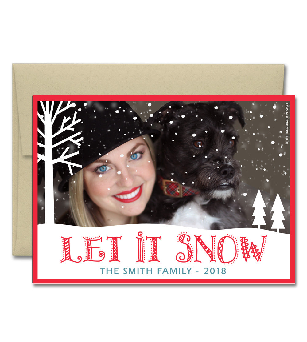 Personalized Christmas Cards.Personalized Christmas Photo Cards Let It Snow