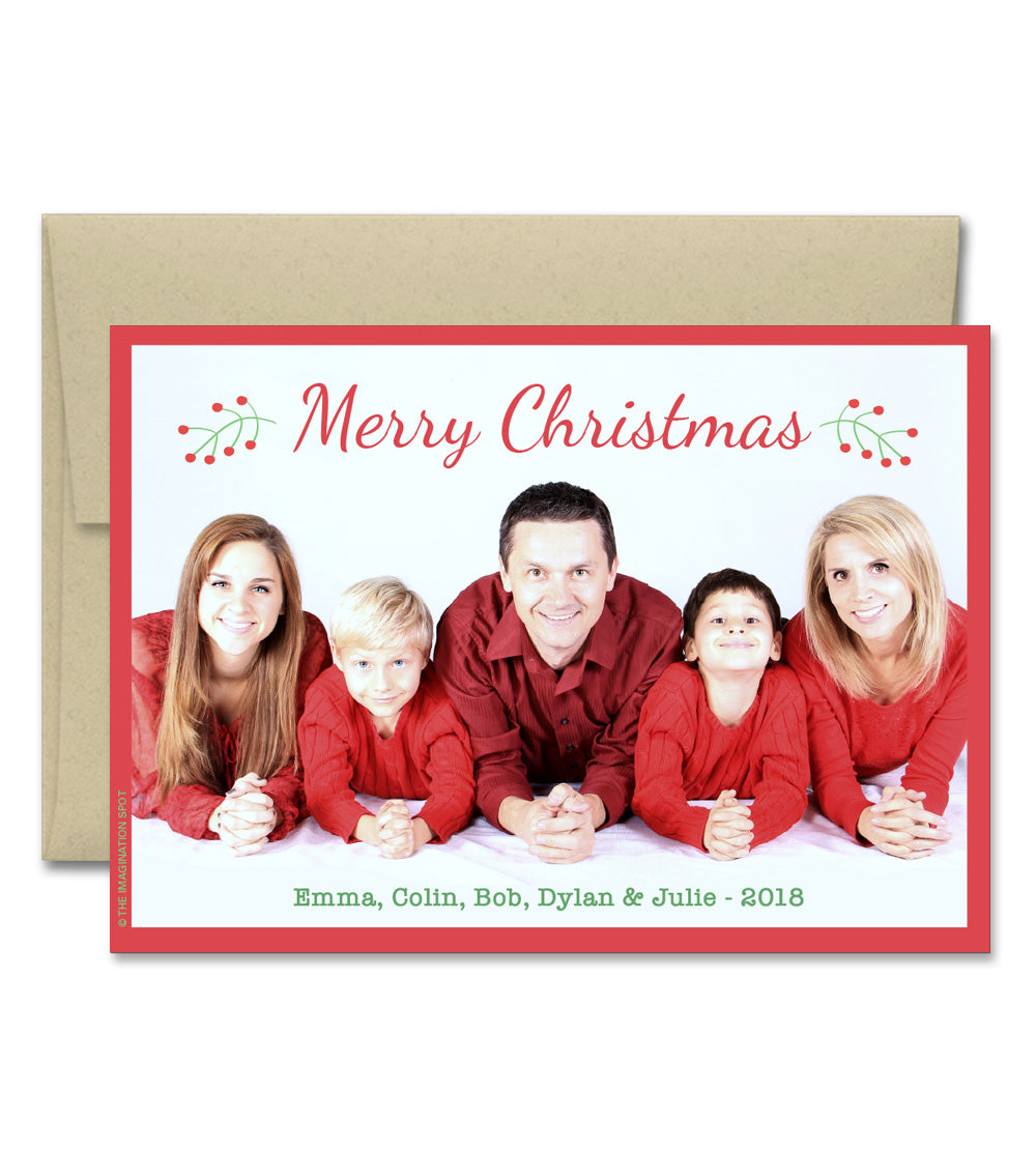 Personalized Christmas Cards.Personalized Christmas Photo Cards Holly
