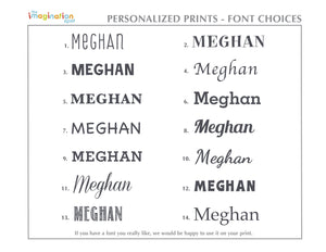 Personalized Art Print - Nursery Wall Art - Font Choices