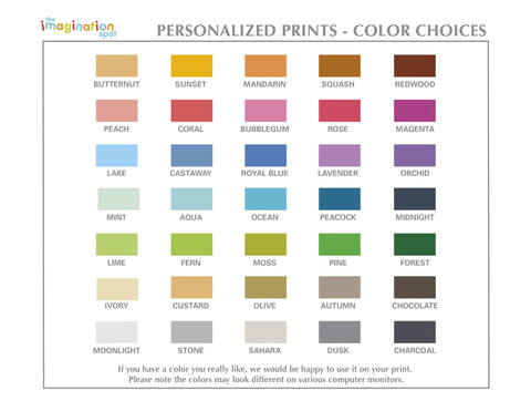 Personalized Art Print - Nursery Wall Art - Color Choices