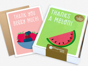 Assorted Thank You Cards - Set of 8 cards - Thank You Fruit Cards - The Imagination Spot
