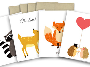 Assorted Woodland Cards Set - Boxed set of 8 cards - The Imagination Spot