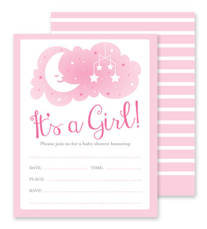 Girl Baby Shower - Fill-in Party Invitations