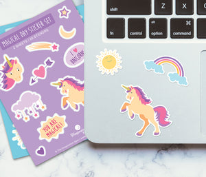Cute Scrapbooking Stickers - Unicorn Rainbow