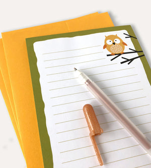 Owl Stationery Set - Owl Notepad Set