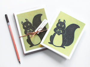 Squirrel Note Card Set - Woodland Animals - Handmade Cards - The Imagination Spot - 3