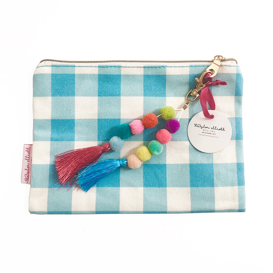 Blue Gingham Pouch with Pom Tassel and Keychain