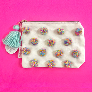 Multi-colored Pom Pom Pouch
