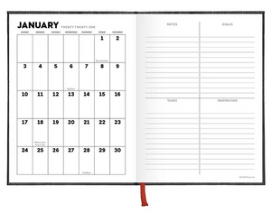 2021 Wood Grain Leatherette - Weekly Monthly Planner
