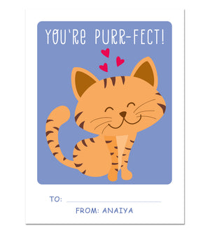 Valentine Card Set - Purrfect - Personalized Valentine Cards