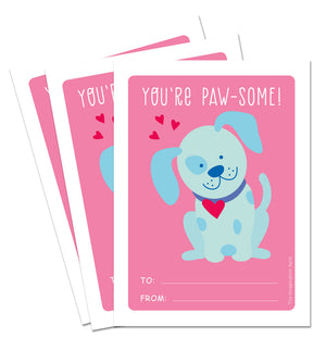 Valentine Card Set - Pawsome - Personalized Valentine Cards