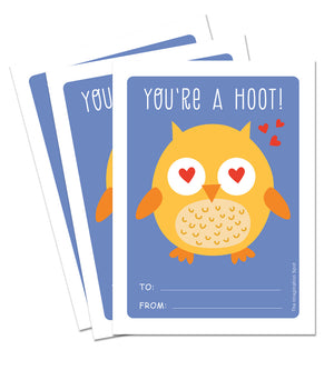 Valentine Card Set - You're A Hoot - Personalized Valentine Cards