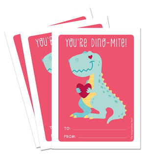 Valentine Card Set - Dinomite - Personalized Valentine Cards