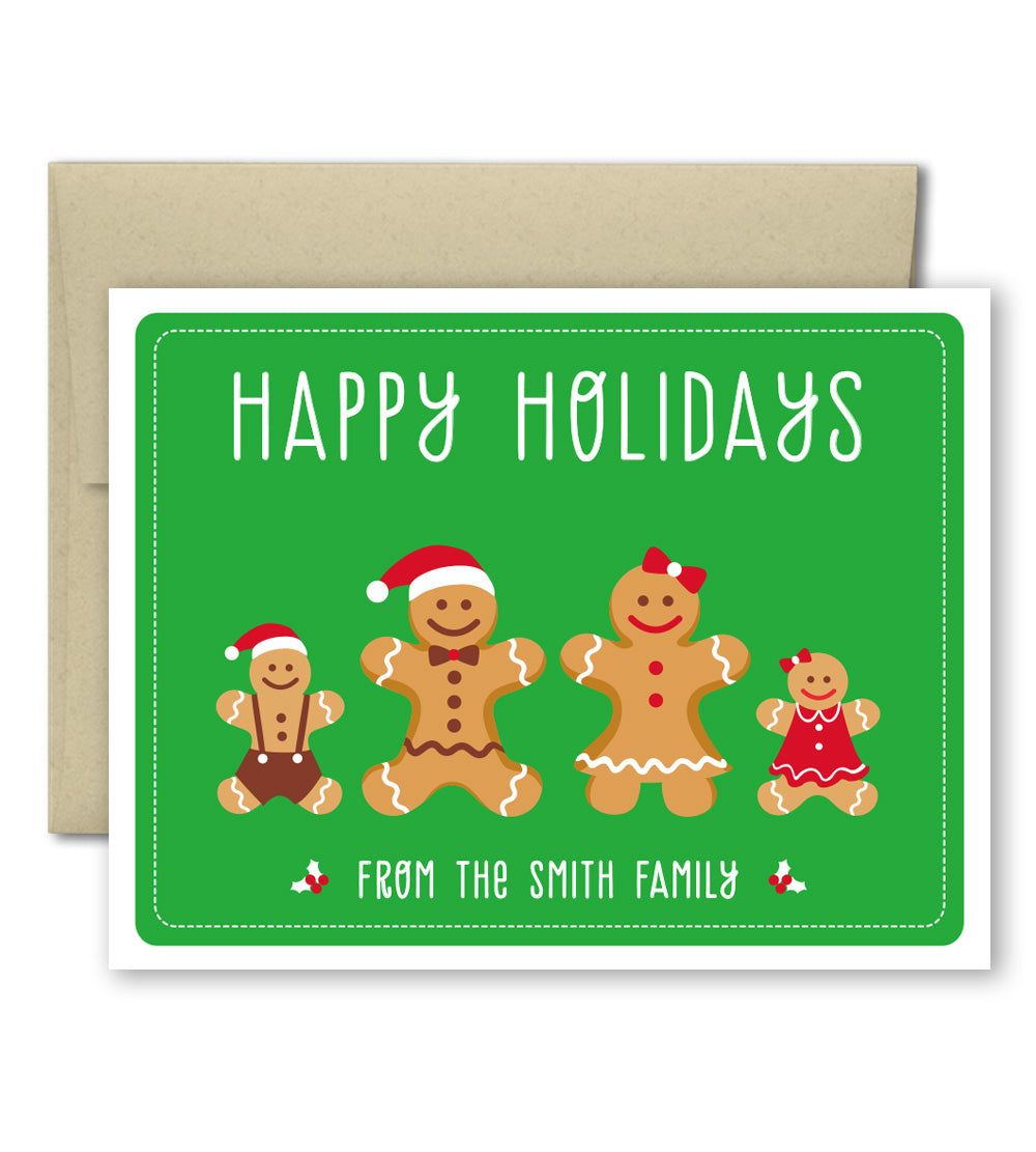 personalized holiday cards set gingerbread family the imagination spot - Personalized Holiday Cards