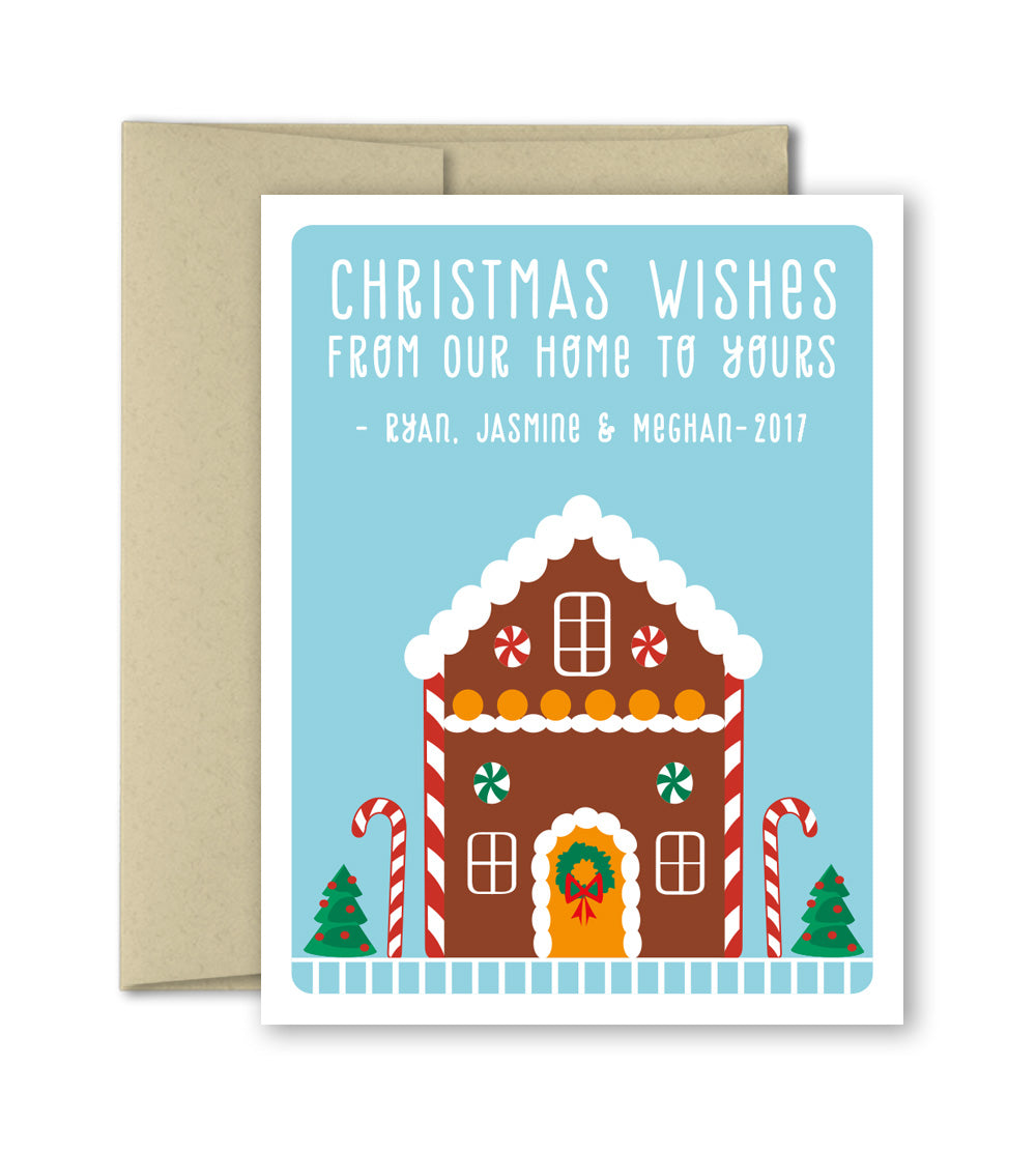 Personalized Christmas Cards.Personalized Christmas Cards Set Gingerbread House Custom Holiday Cards