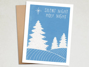 Christmas Tree Card - Silent Night Holiday Card - Linocut