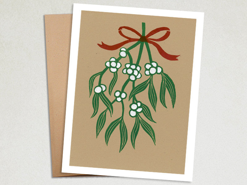 Christmas Card - Mistletoe Holiday Card - Linocut