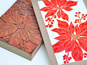 Handmade Christmas Card - Poinsettia - Linocut - The Imagination Spot - 1