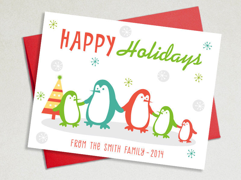 personalized holiday cards set penguins family the imagination spot 1 - Personalized Holiday Cards