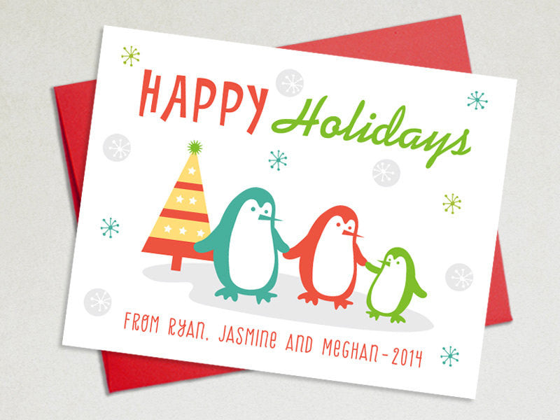 Personalized Holiday Cards Set- Penguins Family - The Imagination Spot - 1