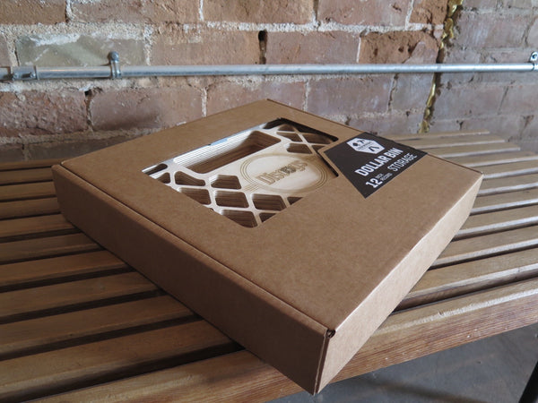 Flat pack Discogs record crate packaged for shipping