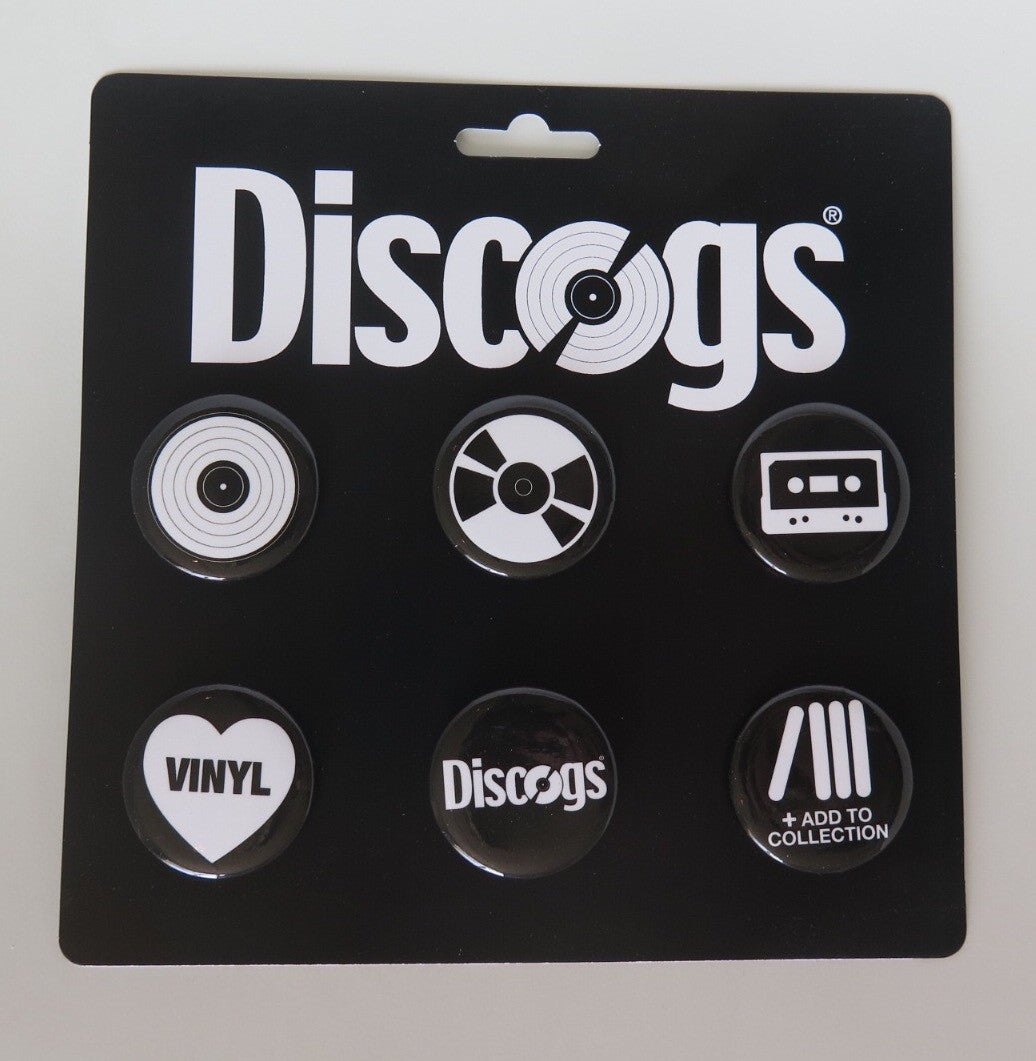 6 pack of Discogs graphic pins for music lovers and record collectors