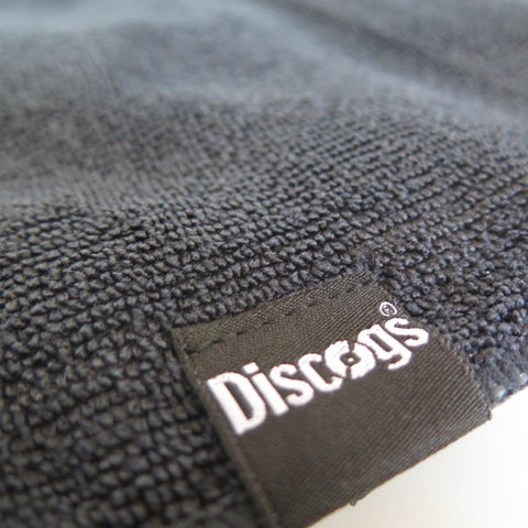 Grey microfibre record cleaning cloth with woven Discogs label
