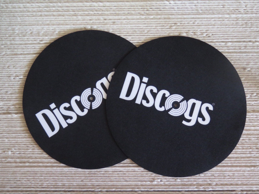 Two Discogs branded felt turntable slipmats