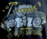 Close up of Mobile Mondays! old school style t-shirt logo