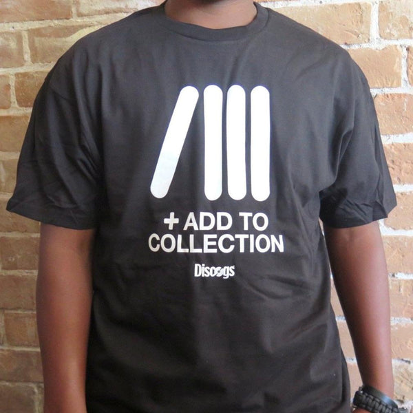 Black record collector's t-shirt with Discogs 'Add To Collection' icon