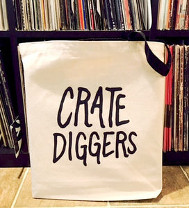 Crate Diggers branded tote bag perfect size for carrying vinyl records