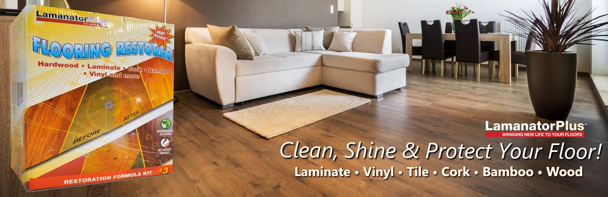 Protect, Shine & Clean Laminate Floor w/ Lamanator Plus