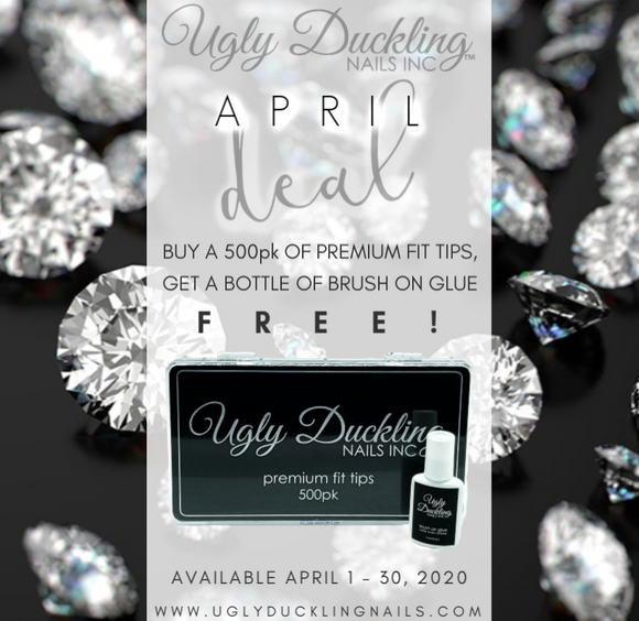 APRIL DEAL - BUY 500pk PREMIUM FIT TIPS AND RECEIVE 1/2oz BRUSH-ON GLUE FREE!