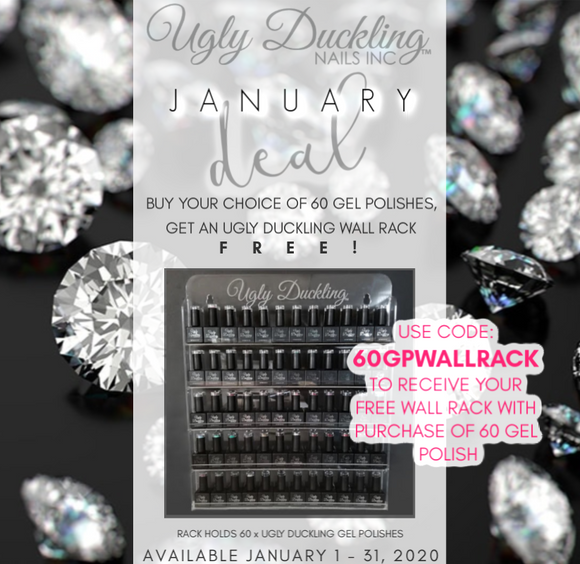 JANUARY DEAL - BUY 60 GEL POLISH, GET A WALL RACK FREE!